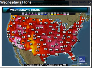 US Map Heat Wave