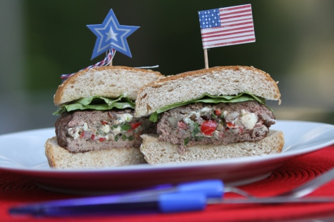 "Festive Red, White and Blue ""Stuffed"" Burgers Recipe - Rebecca ..."