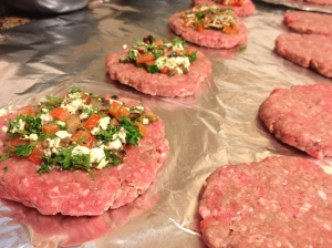 Stuffing burgers with veggie and blue cheese filling using 2-2oz patties for each burger