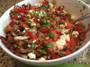 Veggie Mixture-parsley, blue cheese, marinated and grilled mushrooms and red bell pepper